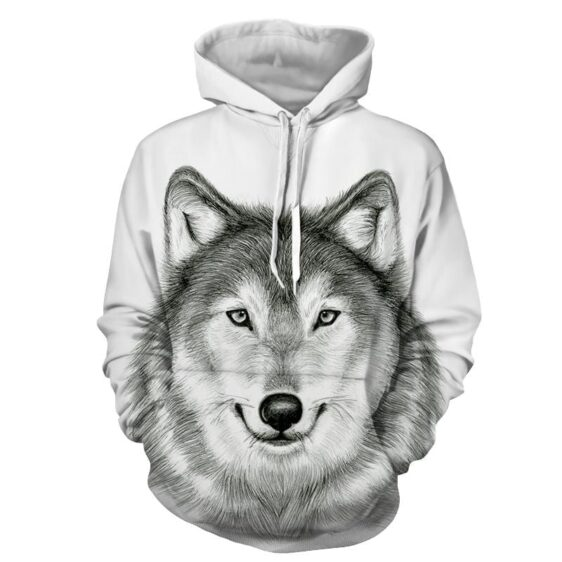 Darling Gray Wolf Cutie Innocent Playful Face White Hoodie
