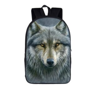 Dominant Alpha Gray Wolf Canine Stare School Backpack