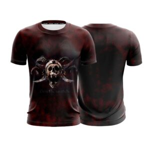 Dope Looking Pirate Skull Death Match Black And Red T-Shirt