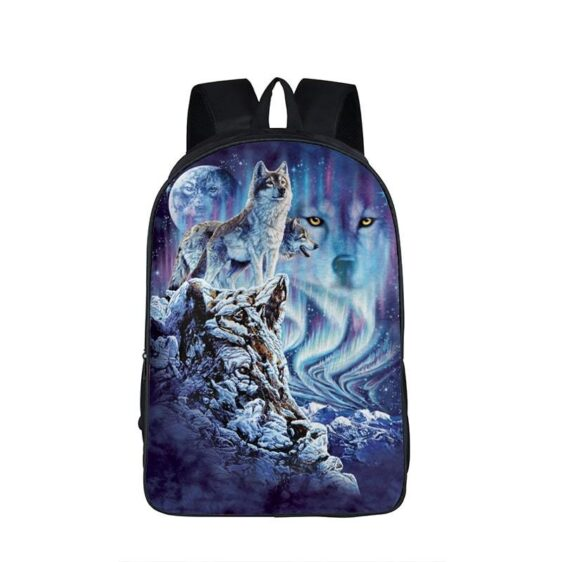 Fascinating Gray Wolves Snowy Northern Lights Backpack