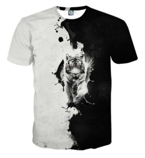 Fierce Looking Tiger Minimalist Black And White T-Shirt