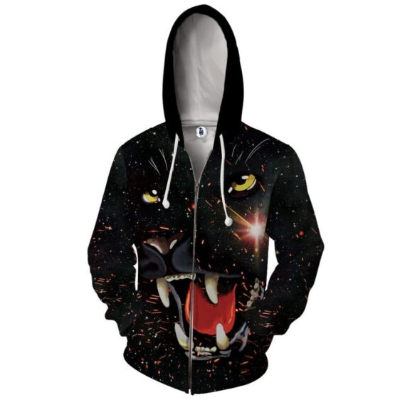 Fiery Outraged Growling Black Panther Black Zip Up Hoodie