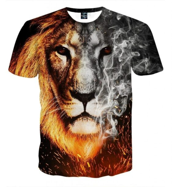 Flaming And Smoking Monochrome Lion Face Design T-shirt