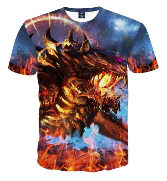 Fuming Mad Spiky Tiger Blazing With Fire Vibrant T-shirt
