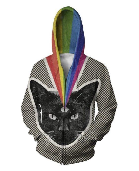 Funny Black Cat Plaid Rainbow Colorful Classic 3D Hoodie - Superheroes Gears