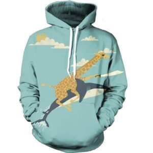 Funny Giraffe Riding Cool Shark Flying Attack Pirate Blade Hoodie - Superheroes Gears