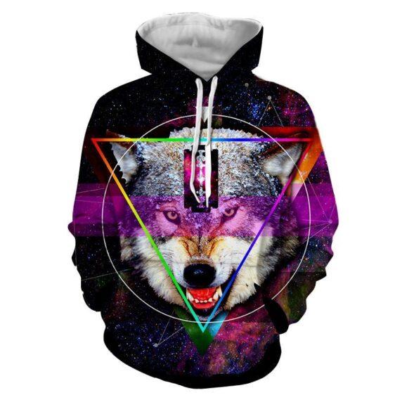 Galactic Wolf Geometric Blade Imprinted Forehead Hoodie