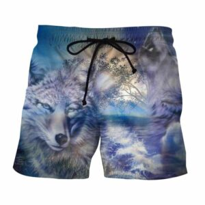 Grey Wolf Portrait Sunset Background Cool Winter Shorts - Woof Apparel
