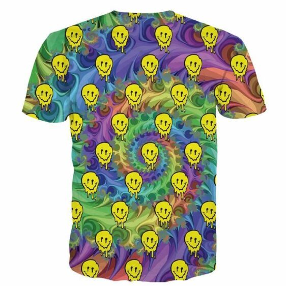Tie Dye Swirling Yellow Skulls Hiphop Style Casual Wear Unique Design T-shirt