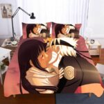Hinata And Naruto's Sweet Kiss Pink Sky Bedding Set