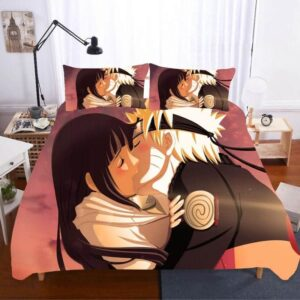 Hinata And Naruto's Sweet Kiss Pink Sky Bedding Set