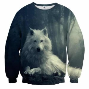 Hudson White Wolf Wilderness Simple Portrait Sweatshirts - Woof Apparel