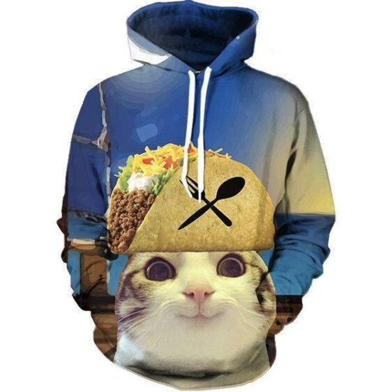 Hungry Funny Cat Delicious Mexican Tacos Trendy Design Hoodie - Woof Apparel