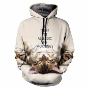 I Think I'm Allergic To Mornings Lazy Cute Kitty Cat Hoodie - Woof Apparel