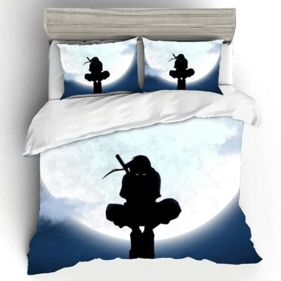 Itachi Uchiha Silhouette Bright Full Moon Bedding Set