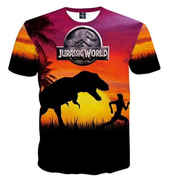 Jurassic World Fallen Kingdom T-Rex Hot Orange Sunset T-Shirt
