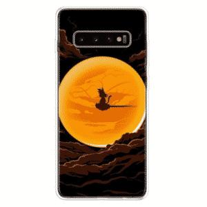 Kid Goku on Nimbus Cloud Silhouette Samsung Galaxy S10 Case
