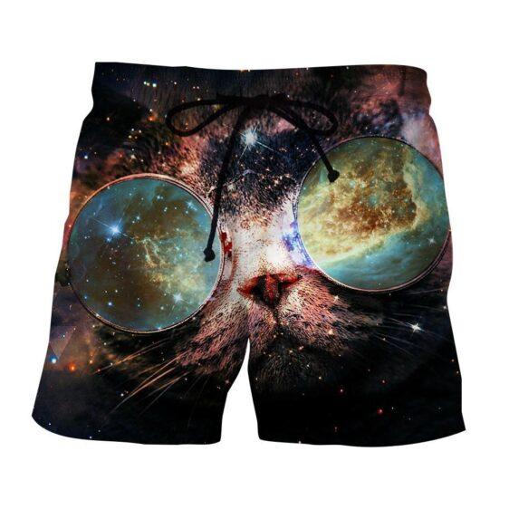 Kitten Sunglasses Galaxy Cute Vibrant Sides Design Shorts - Woof Apparel