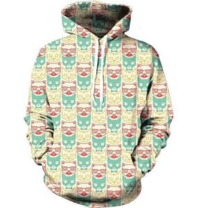 Little Lovely Cool Glasses Tie Cats Sweet Colorful Hoodie - Woof Apparel