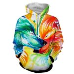 Lovely Couple Wolves Colorful Creative Art Cutesy Hoodie