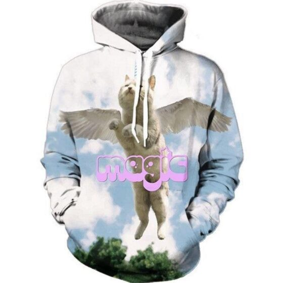 Magical Cute Cat Kittycorn Fly Sky Eagle Wings  Funny Design Hoodie - Woof Apparel
