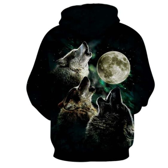 Mighty Wolfpack Howling under the Shady Moonlight Hoodie