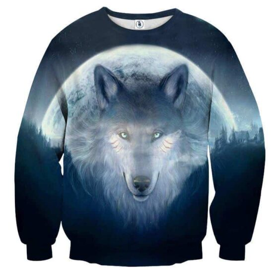 Mysterious Wolf Face Night Moon 3D Printed Cool Sweatshirt