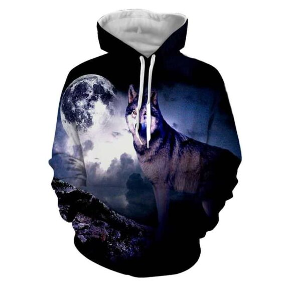 Moon Wolf Standing On Look Out Wild Canine Delightful Hoodie