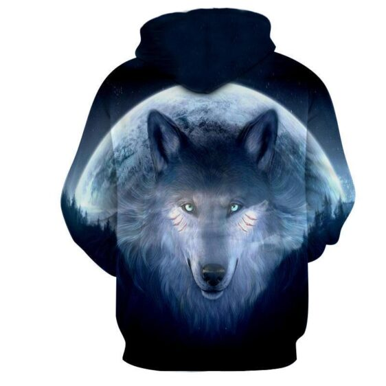 Mysterious Wolf Face Night Moon 3D Printed Cool Hoodie