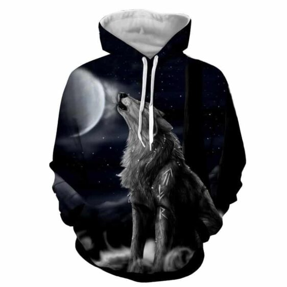Mystical Gray Wolf Howl on a Flurry Night Adorbs Hoodie
