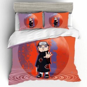 Nagato Chibi Art Water Drop Effect Purple & Orange Bedding Set