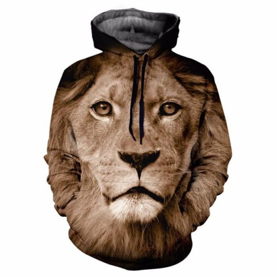 Naive King Lion Face Brown Impressive Vintage 3D Hooded Sweater - Woof Apparel