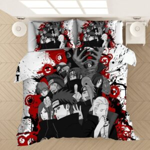 Naruto Akatsuki Members Bloody Black And White Bedding Set