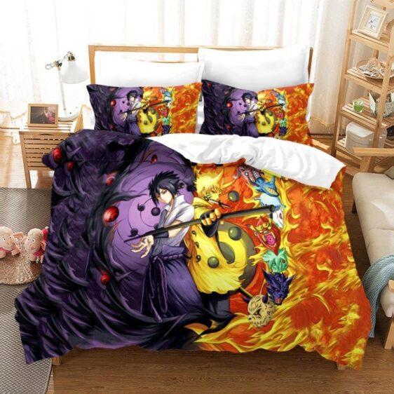 Naruto And Sasuke Power Jinchuuriki Sharingan Bedding Set