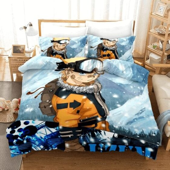 Naruto Uzumaki Bored Look Carrying A Snowboard Bedding Set