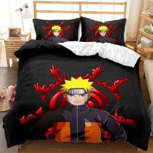 Naruto Uzumaki Red Kurama Symbol Black Bedding Set