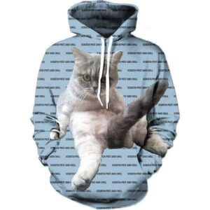 Naughty Scratch Post & Chill Cat Funny Tail Up Bitchy Style Hoodie - Woof Apparel