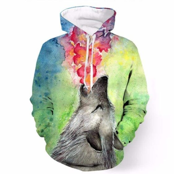 Oil Painting Tie Dye Art Lovely Wolf Pockets Autumn 3D Hoodie - Woof Apparel