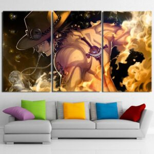 One Piece Ace Standing In Flames Back View Orange 3pcs Canvas