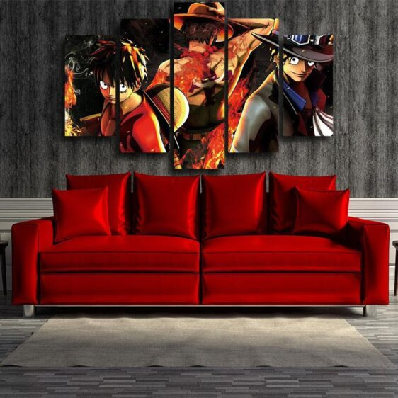 One Piece Dope Brothers Luffy Ace Sabo 5pc Wall Art Decor
