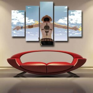 One Piece Fire Punch Ace Freedom Blue Sky 5pc Wall Art Decor