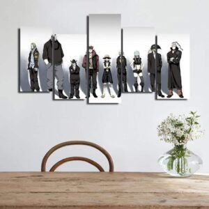 One Piece Luffy With The Crew Black Outfit 5pcs Canvas Print
