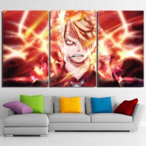 One Piece Sanji Black Leg Flamming Ablaze Orange 3pcs Canvas