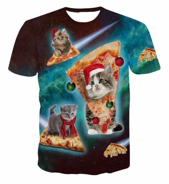 Pizza Grey Baby Cat Flying in the Space Galaxy Funny Unique 3D T-Shirt - Woof Apparel