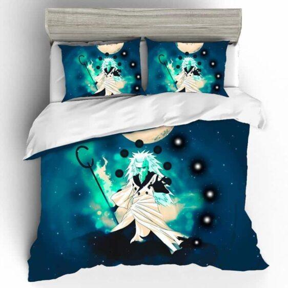 Powerful Madara Uchiha Awakened Rinnegan Blue Bedding Set