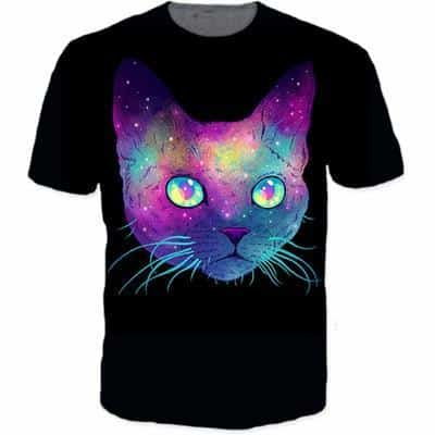 Psychedelic Cat Face Art IIlustration Vibrant Funky 3D T-Shirt - Woof Apparel