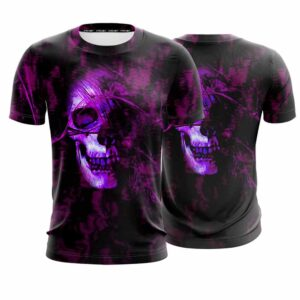 Purple Creepy Looking Skull Dope Style Black T-Shirt