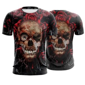 Scary Skull With Blood Splatter Roses Cool Black T-Shirt