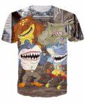 Sharks Mafia Gang Cute Cartoon Characters Hip Hop 3D T-Shirt - Woof Apparel