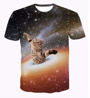 Silly Cat Falling in the Space Black Hole Brilliant Sparkling 3D T-Shirt - Woof Apparel